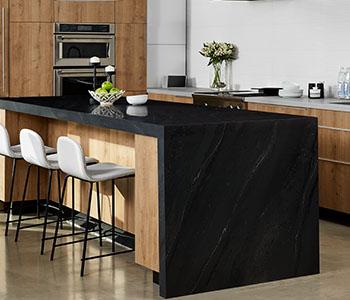 formica, black marble, planked urban oak, kitchen