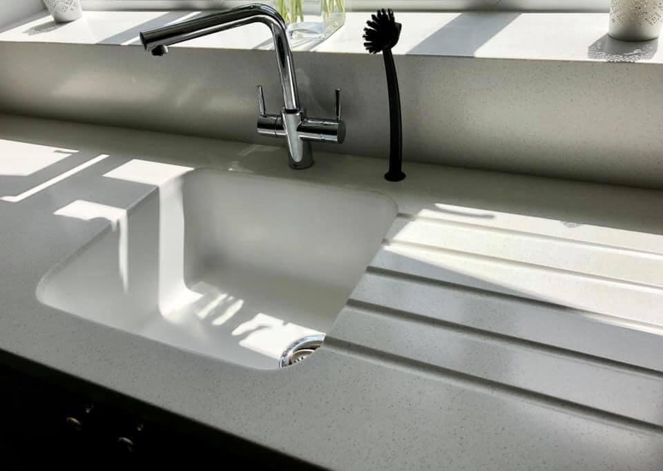 Corian sink built in drainer grooves